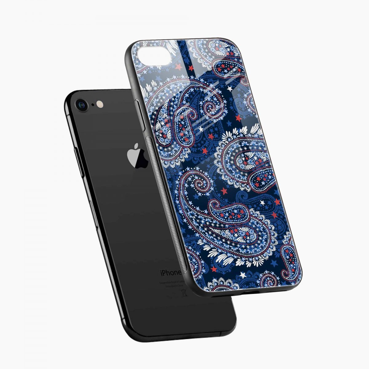 blue colored classical pattern diagonal view apple iphone 6 7 8 se back cover