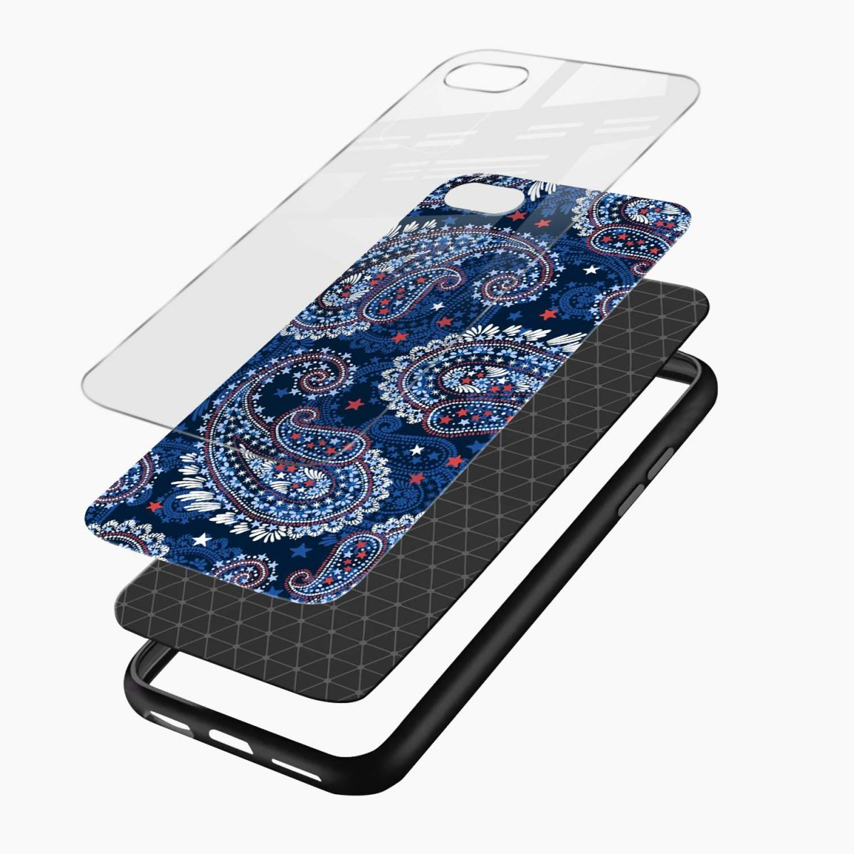 blue colored classical pattern layers view apple iphone 6 7 8 se back cover