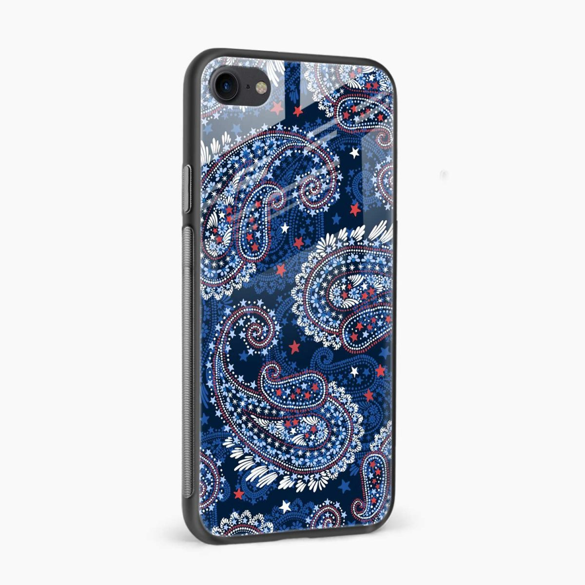 blue colored classical pattern side view apple iphone 6 7 8 se back cover