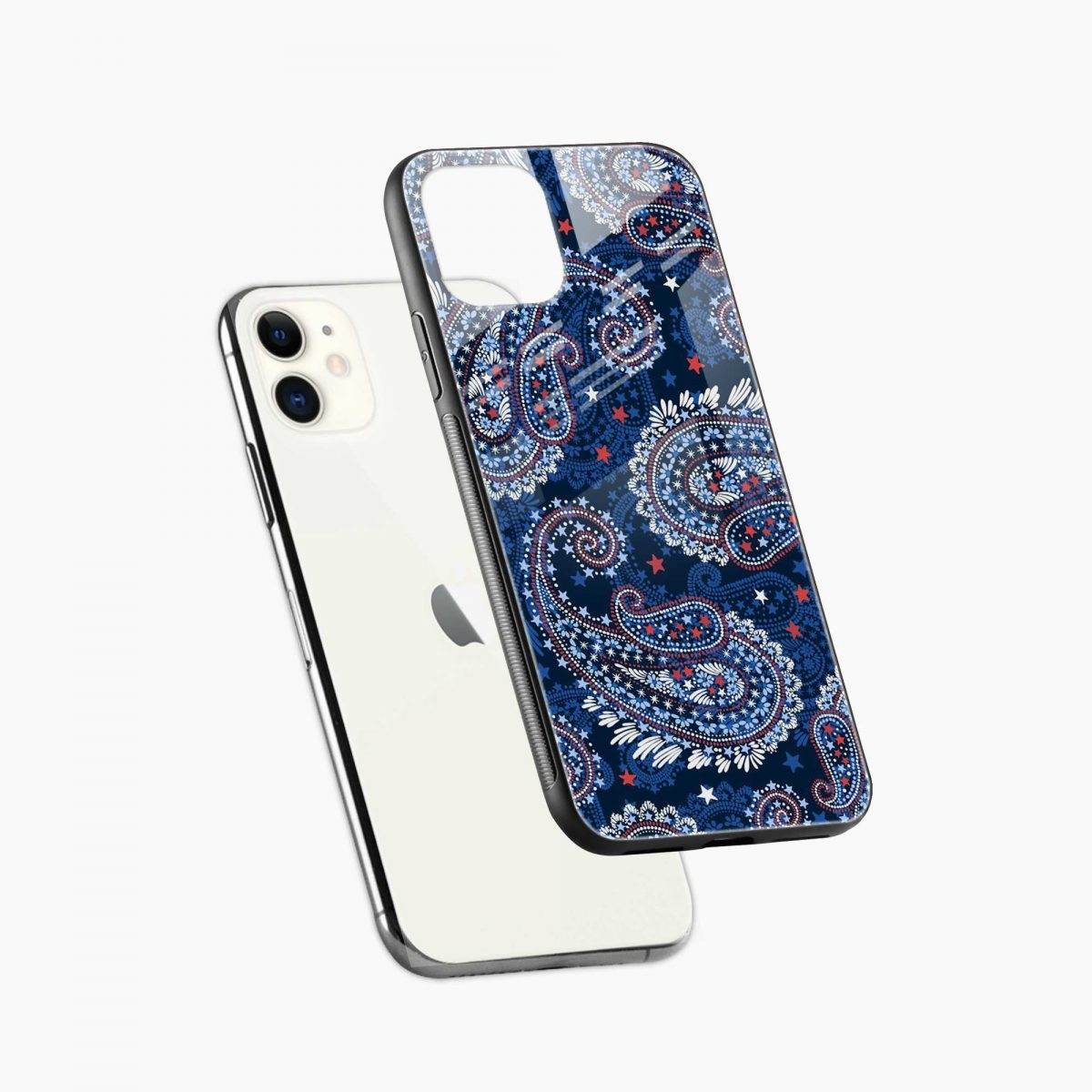 blue colored classical pattern iphone back cover diagonal view