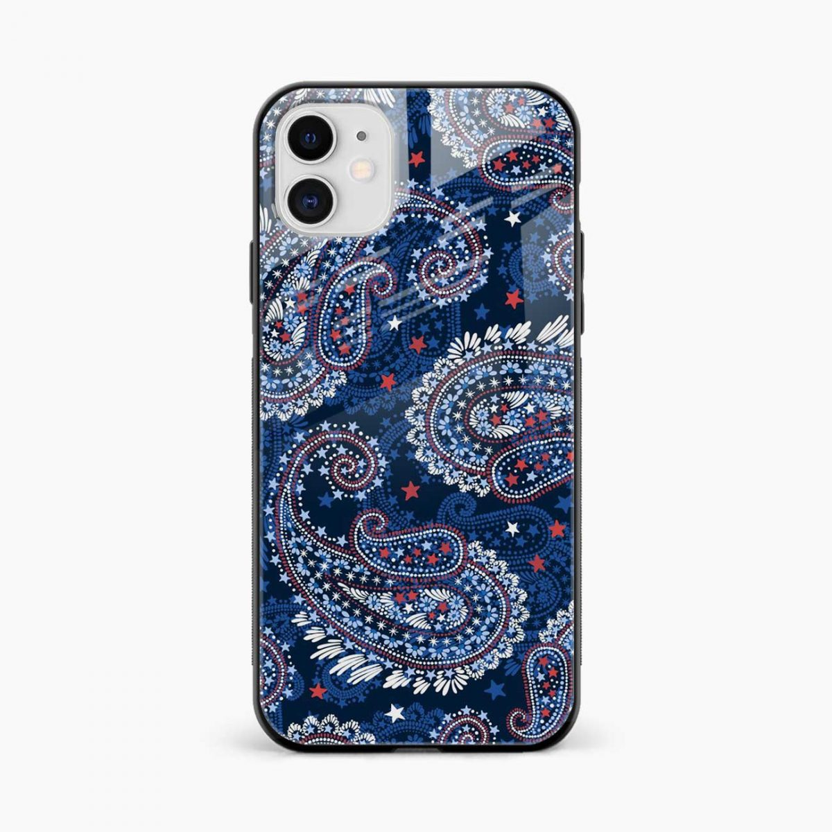 blue colored classical pattern iphone back cover front view
