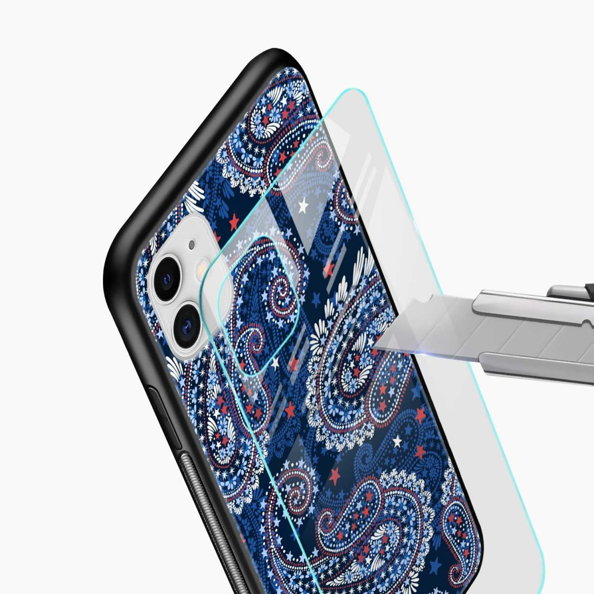 blue colored classical pattern iphone back cover glass view