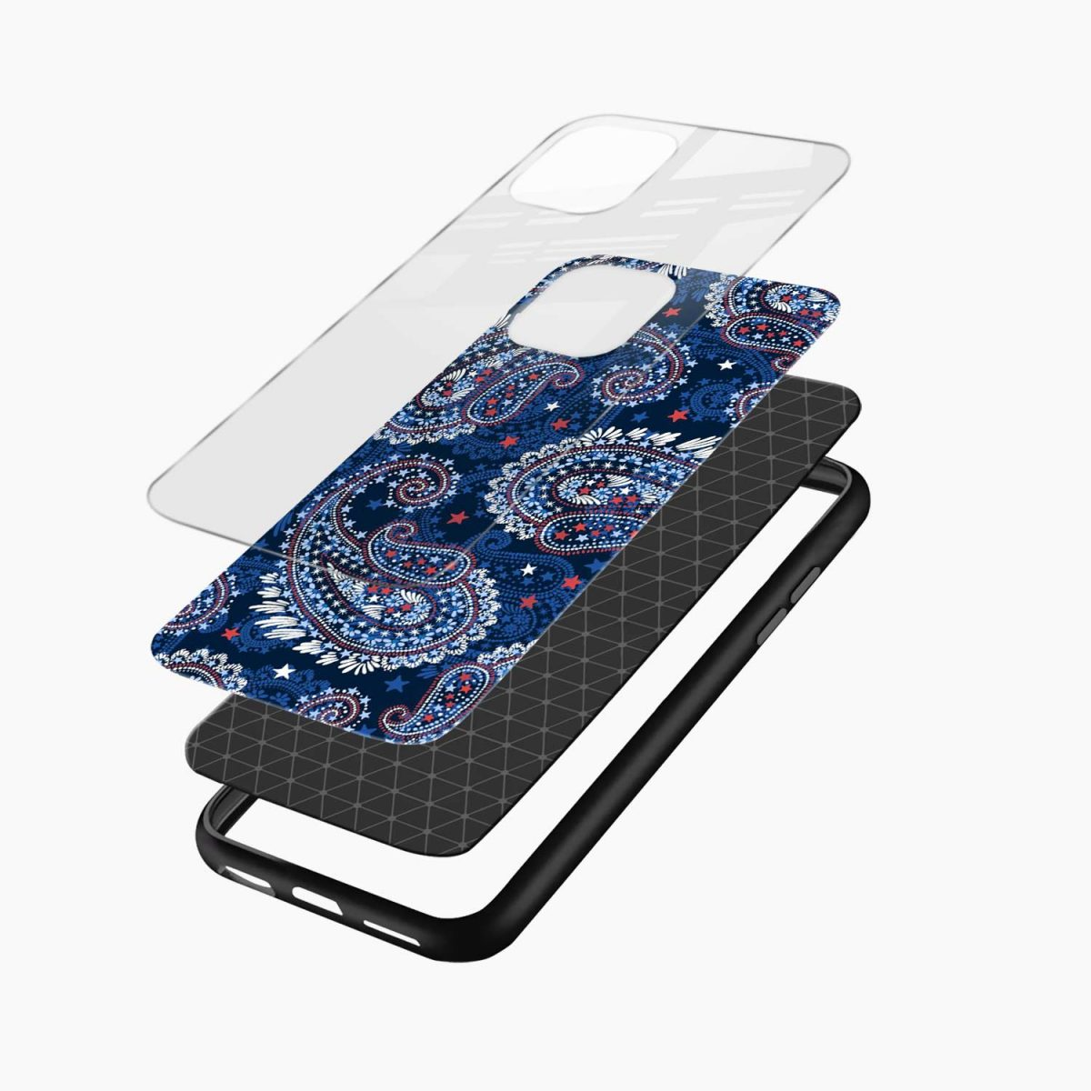 blue colored classical pattern iphone back cover layers view