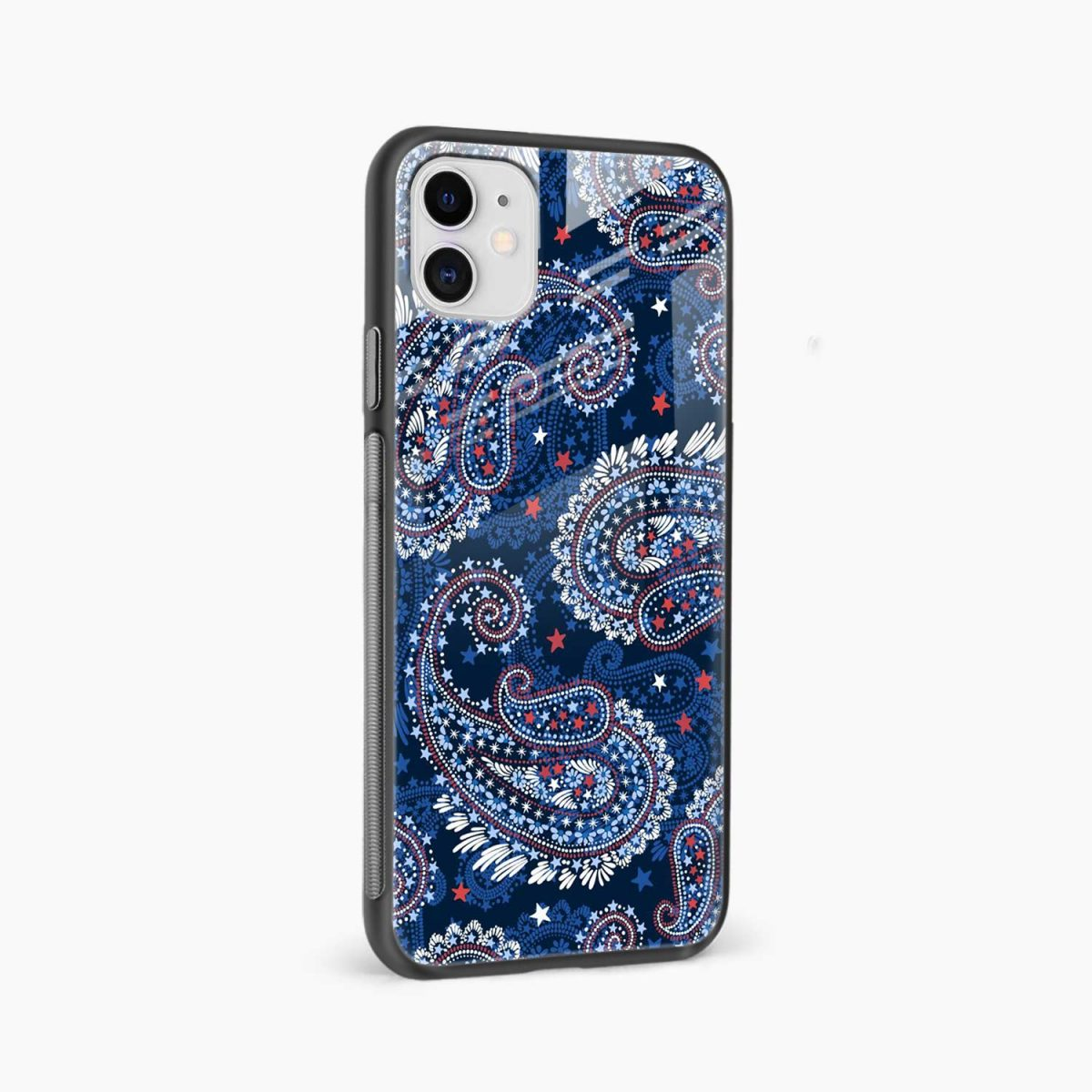 blue colored classical pattern iphone back cover side view
