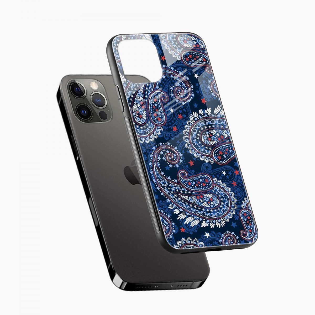 blue colored classical pattern iphone pro back cover diagonal view