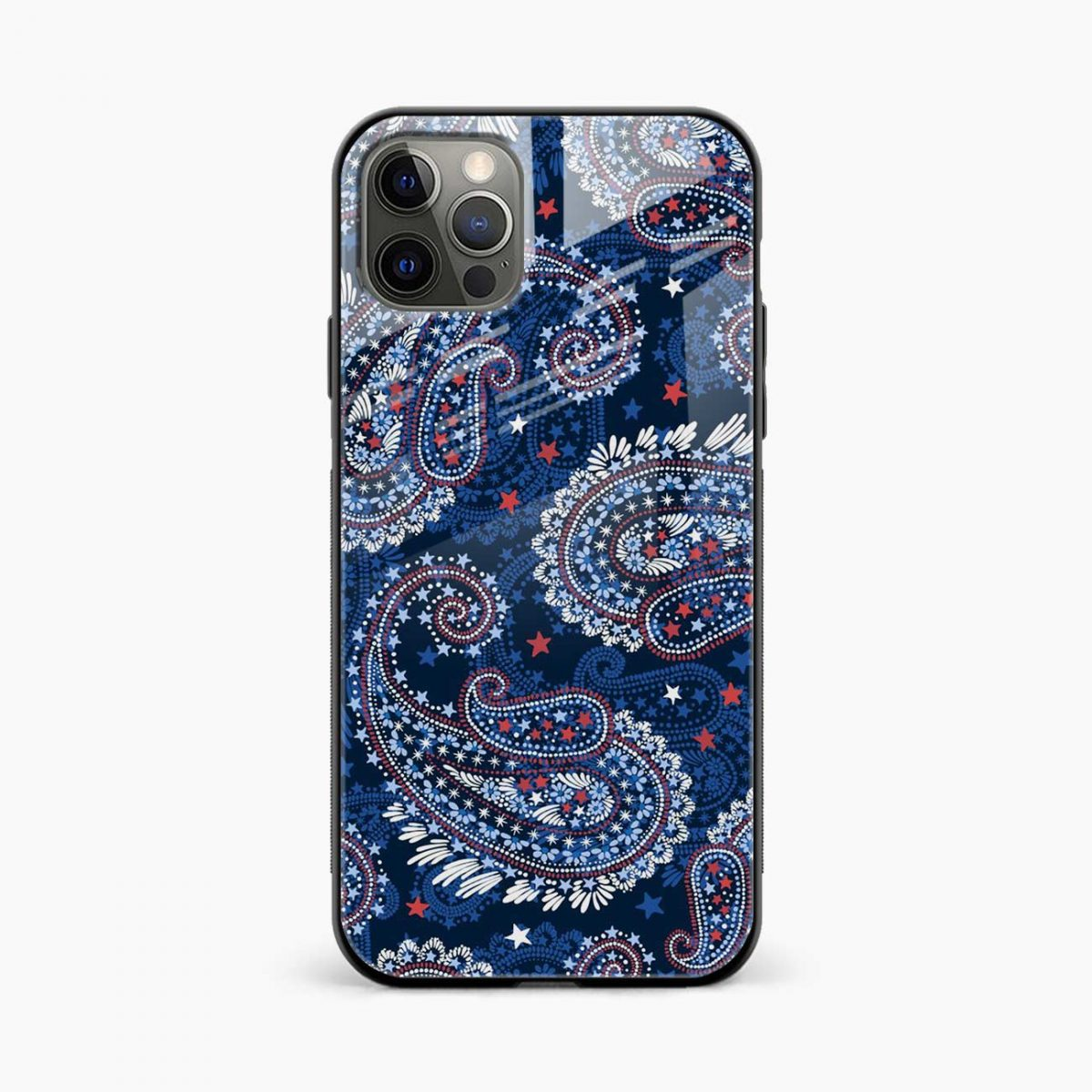 blue colored classical pattern iphone pro back cover front view