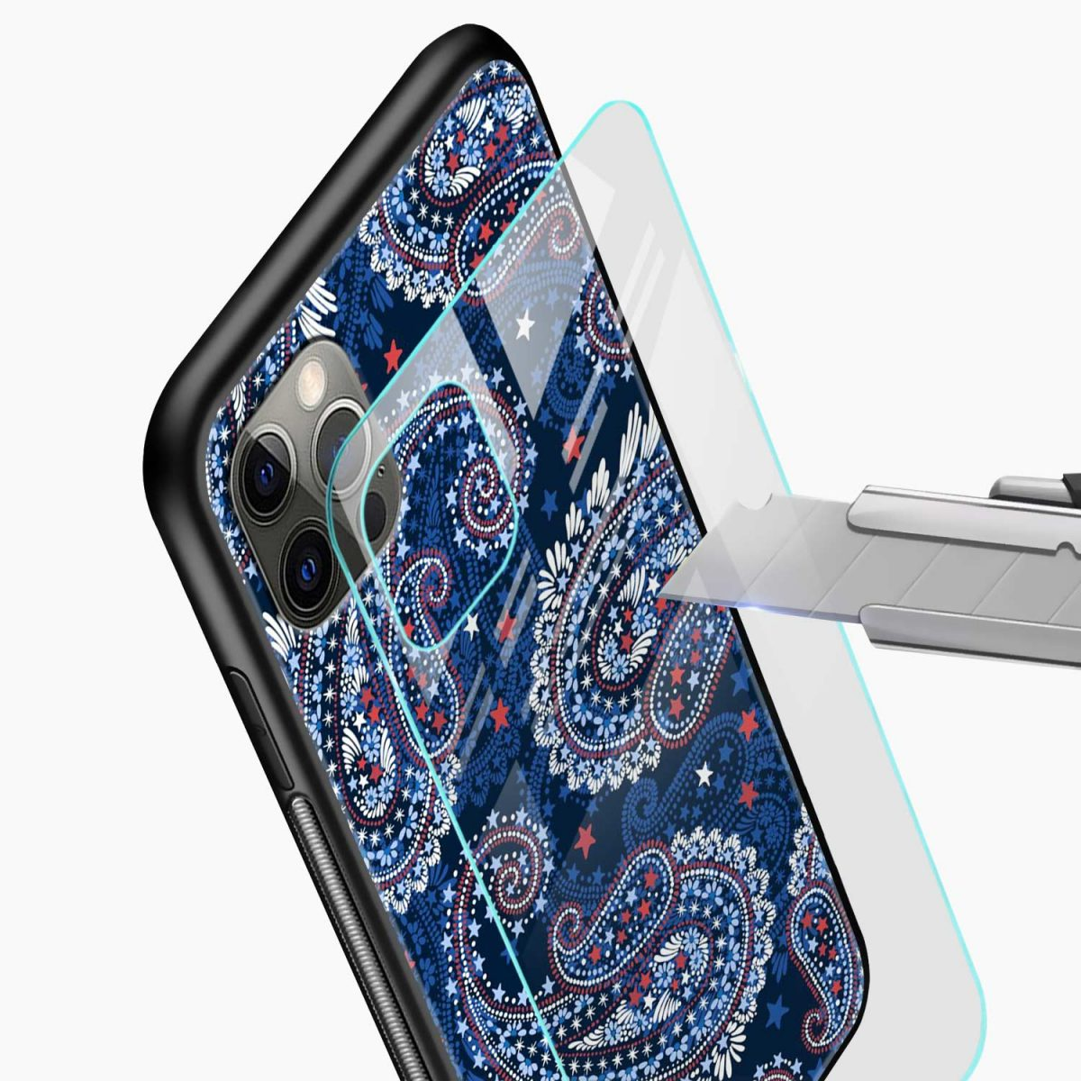 blue colored classical pattern iphone pro back cover glass view