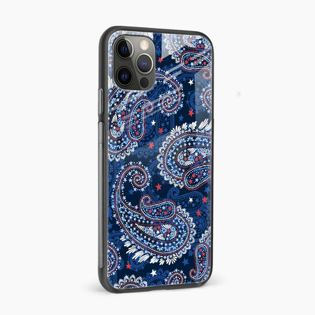 blue colored classical pattern iphone pro back cover side view