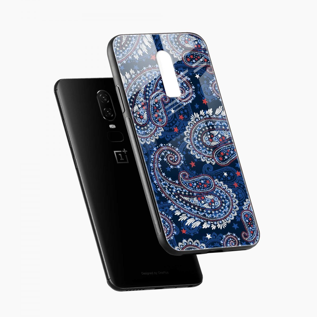 blue colored classical pattern diagonal view oneplus 6 back cover