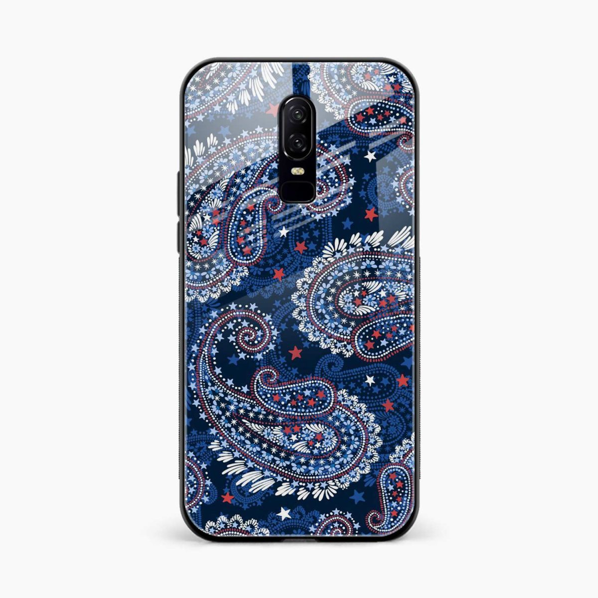 fblue colored classical pattern ront view oneplus 6 back cover