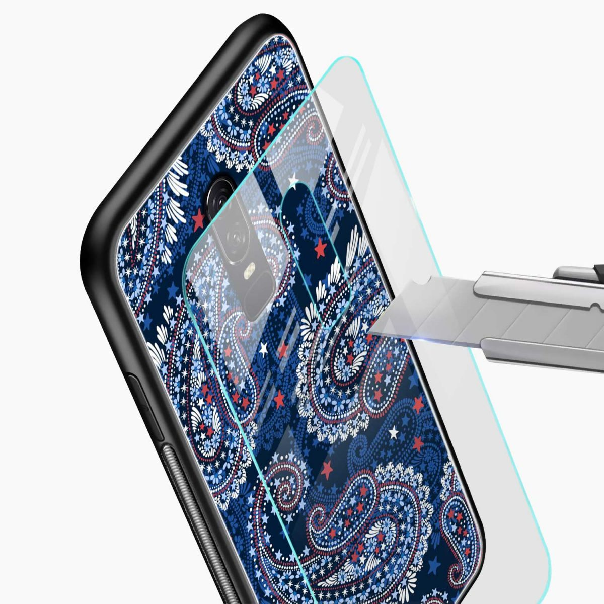 blue colored classical pattern glass view oneplus 6 back cover