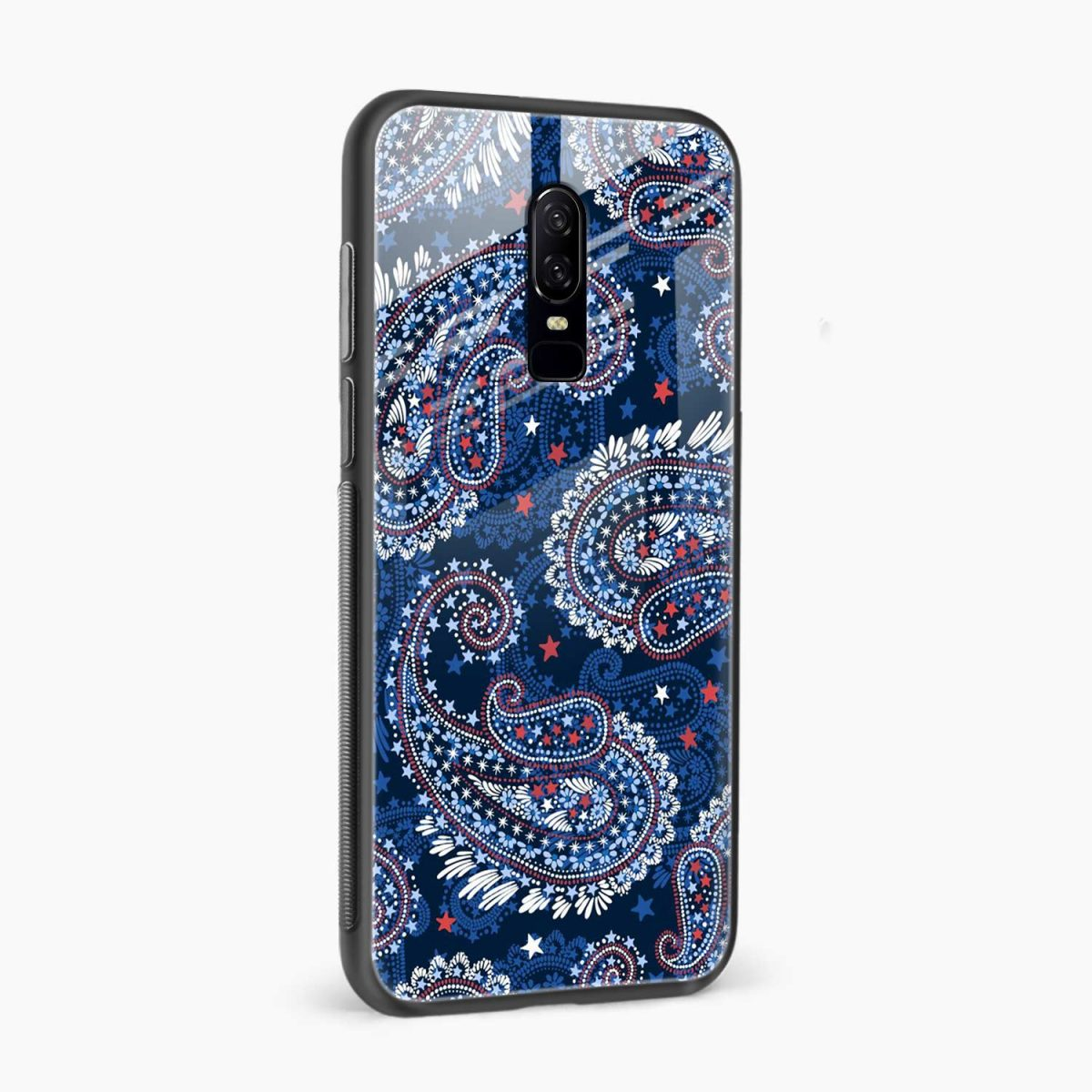 blue colored classical pattern side view oneplus 6 back cover