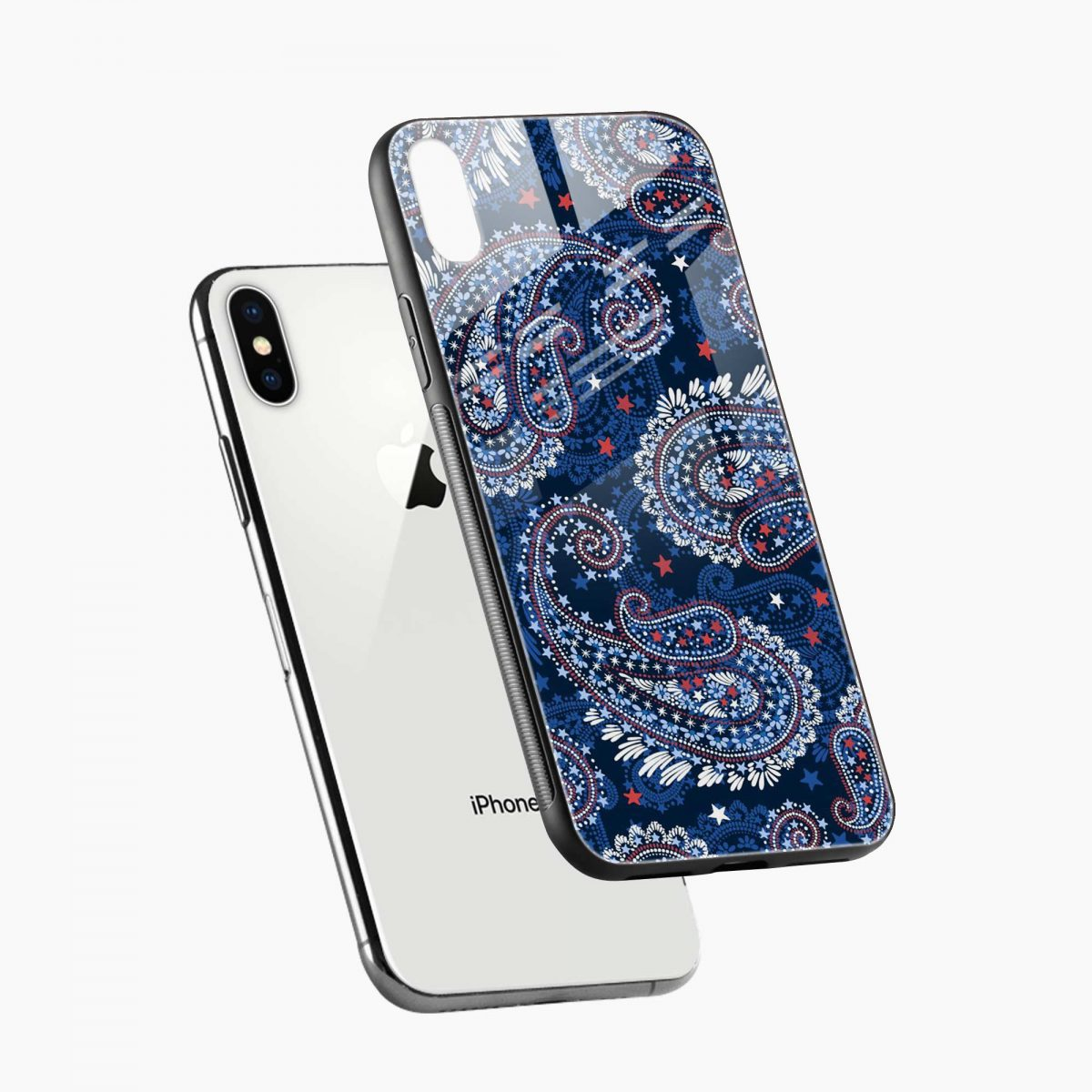 blue colored classical pattern diagonal view apple iphone x xs max back cover