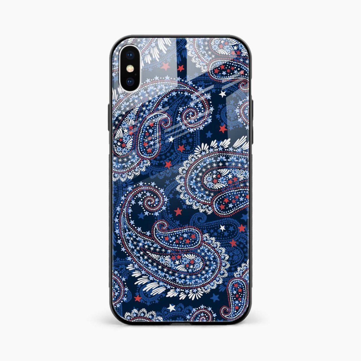 blue colored classical pattern front view apple iphone x xs max back cover