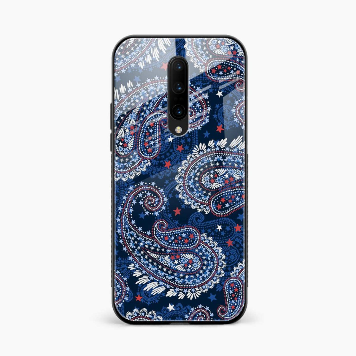 blue colored classical pattern front view oneplus 7 pro back cover