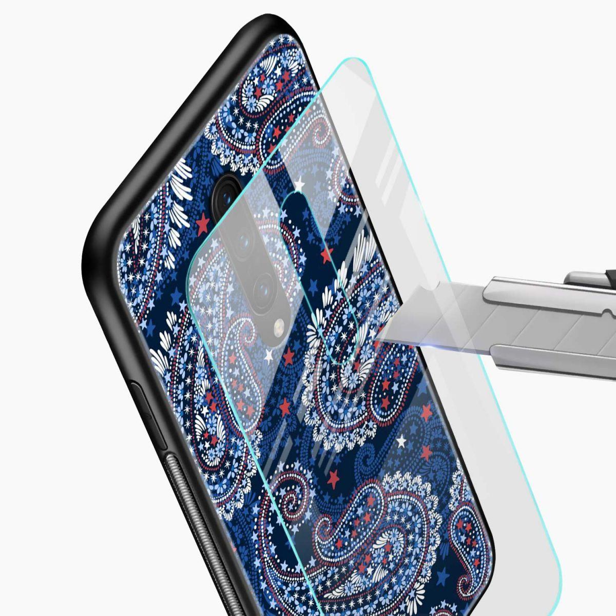 blue colored classical pattern glass view oneplus 7 pro back cover