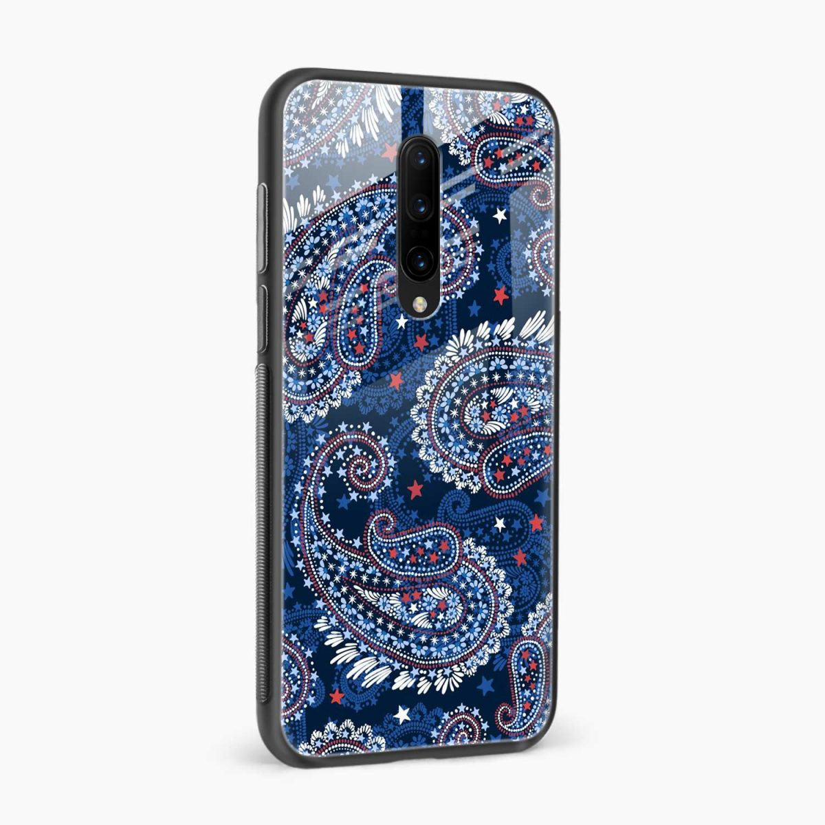blue colored classical pattern side view oneplus 7 pro back cover