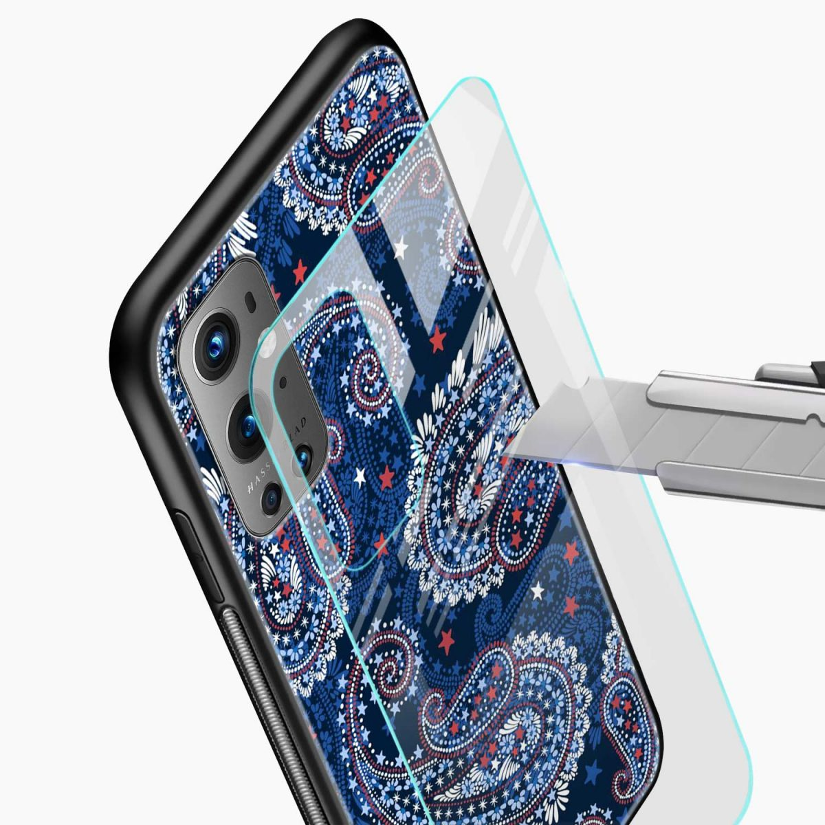 blue colored classical pattern glass view oneplus 9 pro back cover