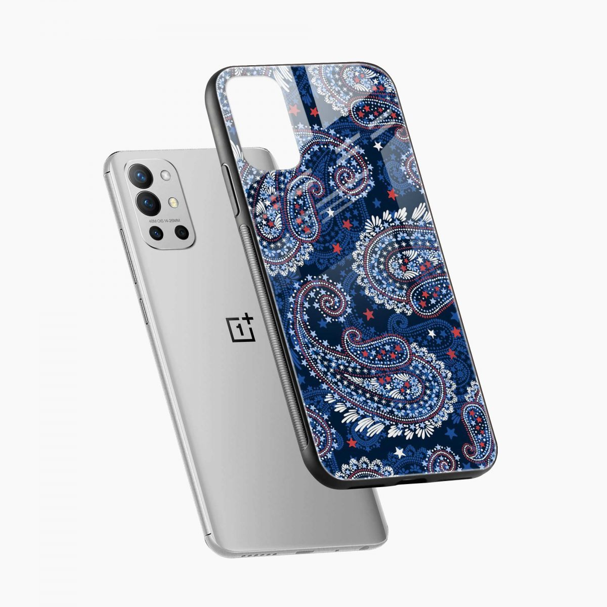 blue colored classical pattern diagonal view oneplus 9r back cover