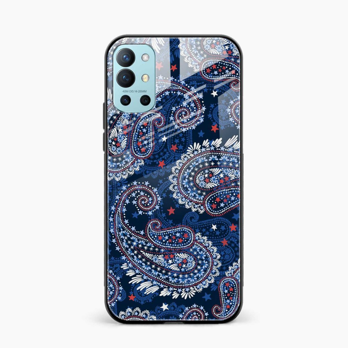 blue colored classical pattern front view oneplus 9r back cover