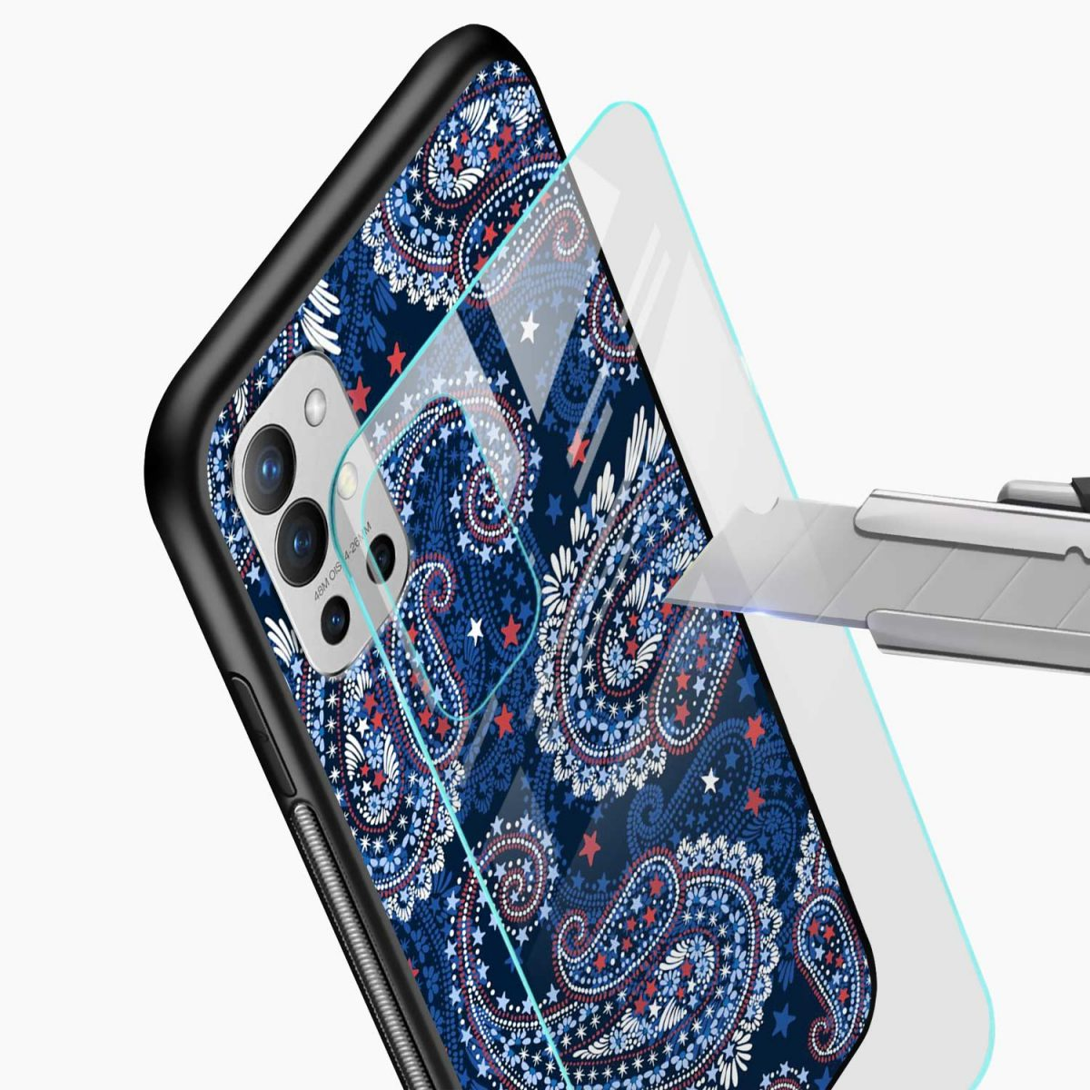blue colored classical pattern glass view oneplus 9r back cover