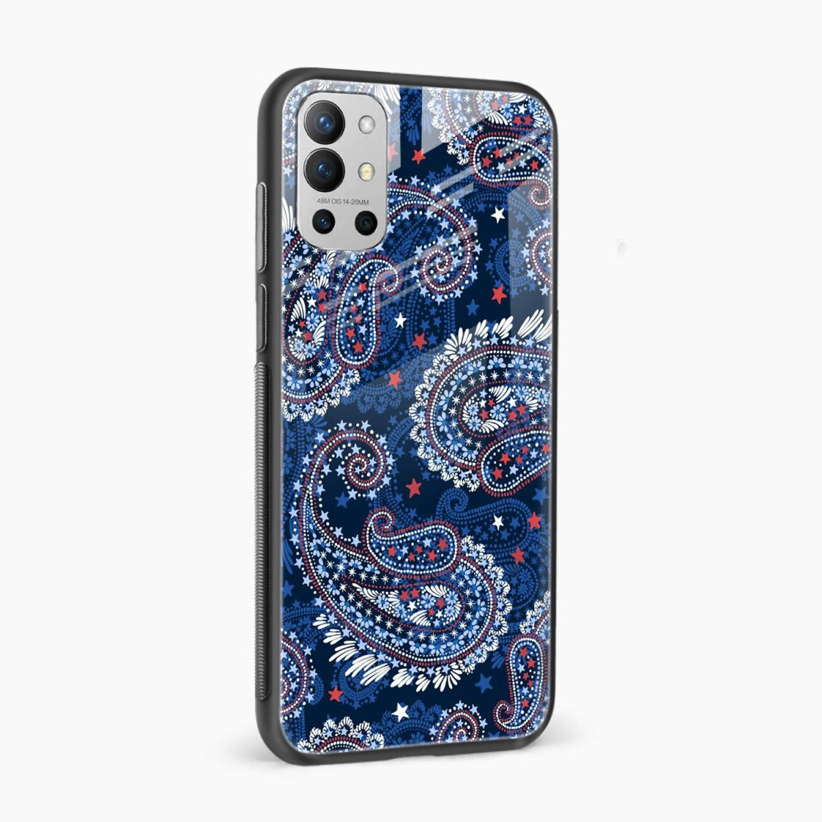 blue colored classical pattern side view oneplus 9r back cover