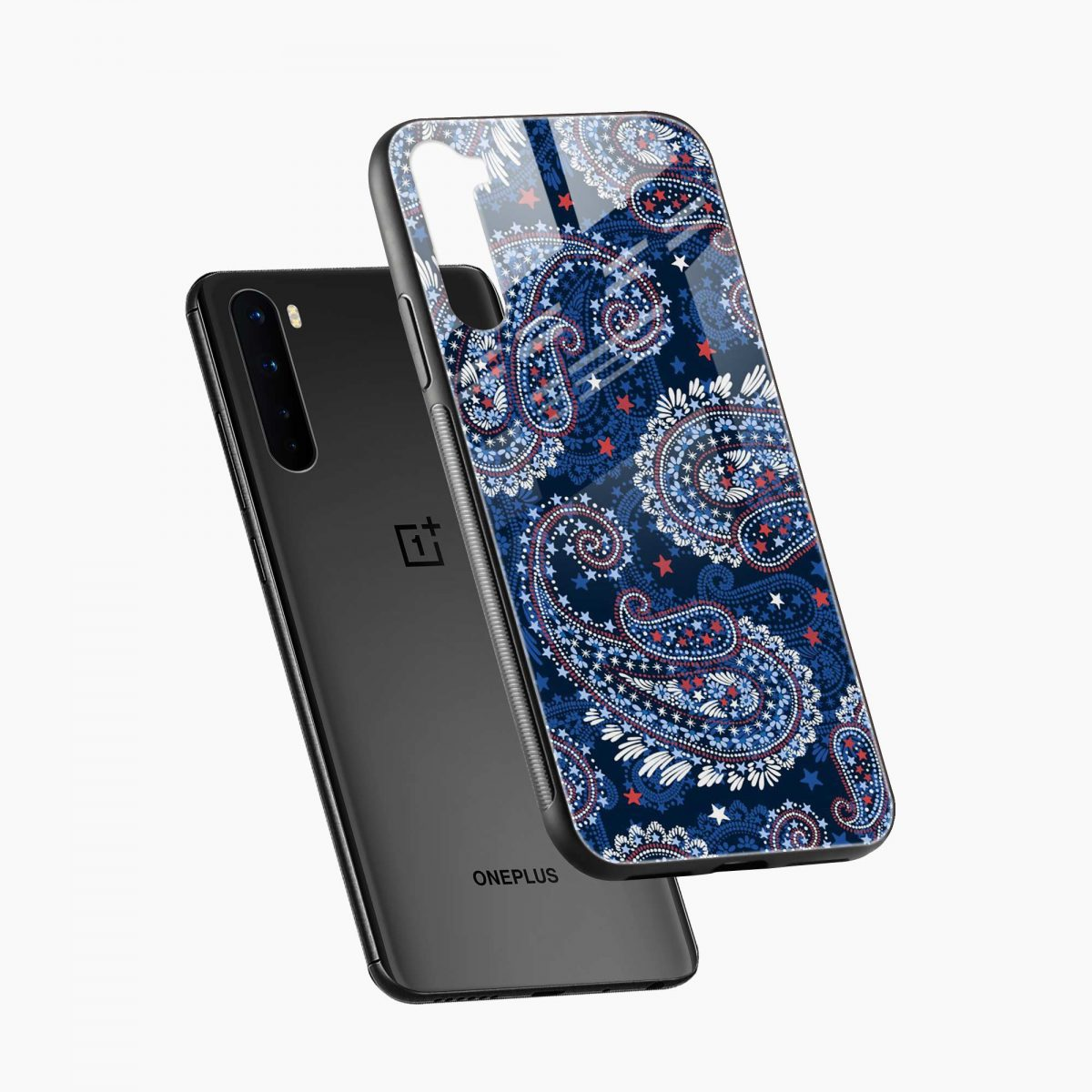 blue colored classical pattern diagonal view oneplus nord back cover