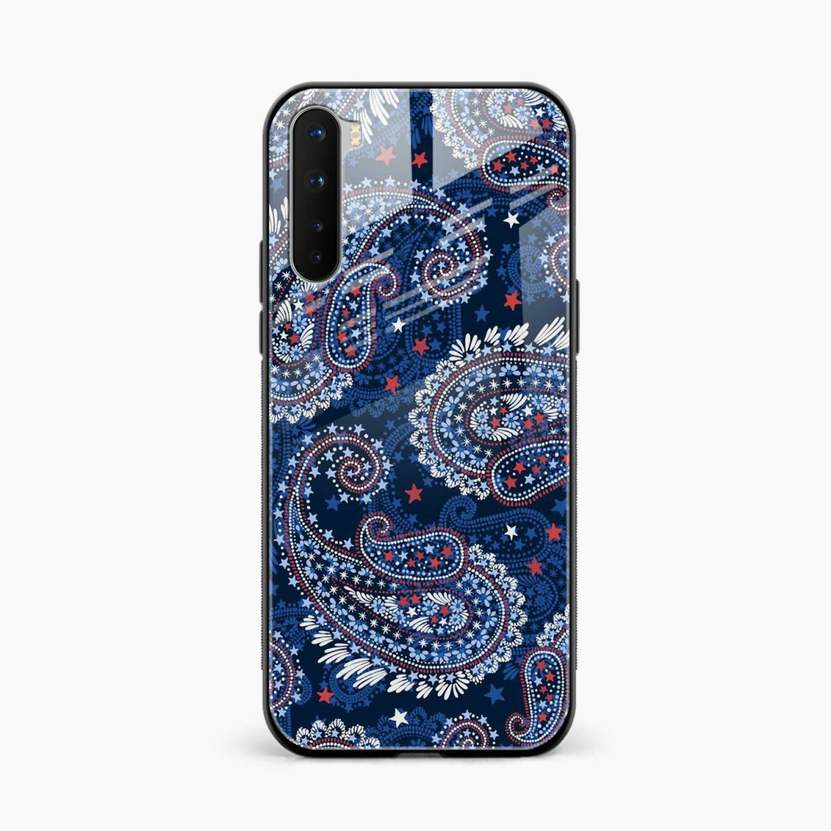 blue colored classical pattern front view oneplus nord back cover