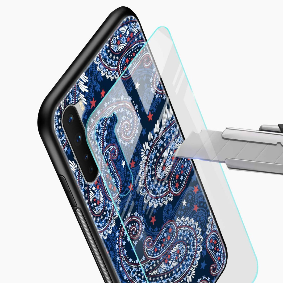 blue colored classical pattern glass view oneplus nord back cover