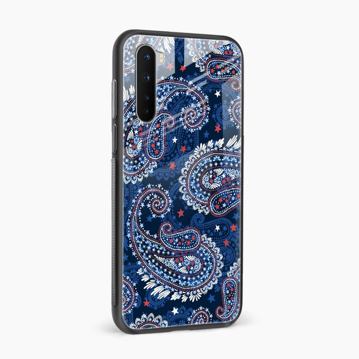 blue colored classical pattern side view oneplus nord back cover