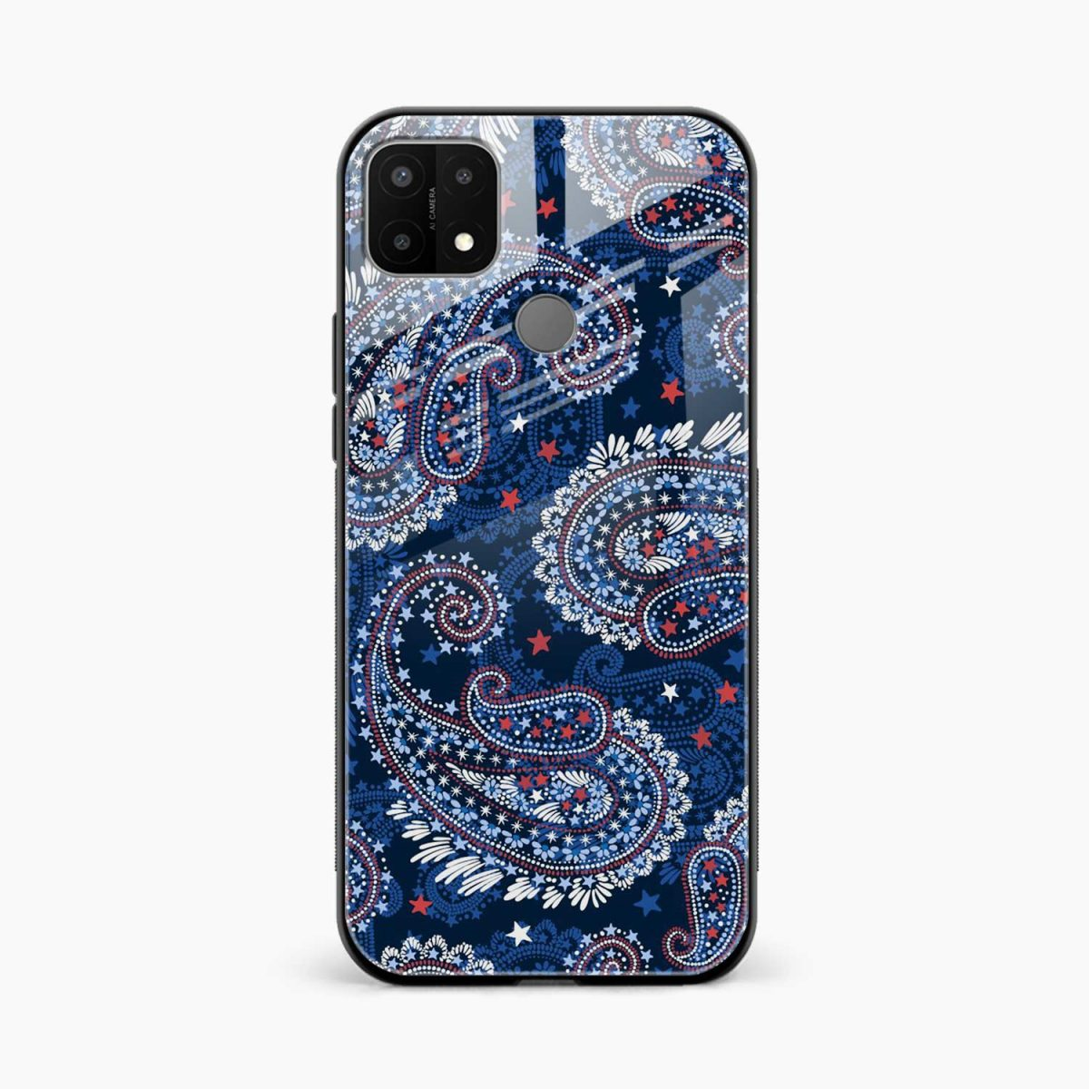 blue colored classical pattern front view oppo a15 back cover