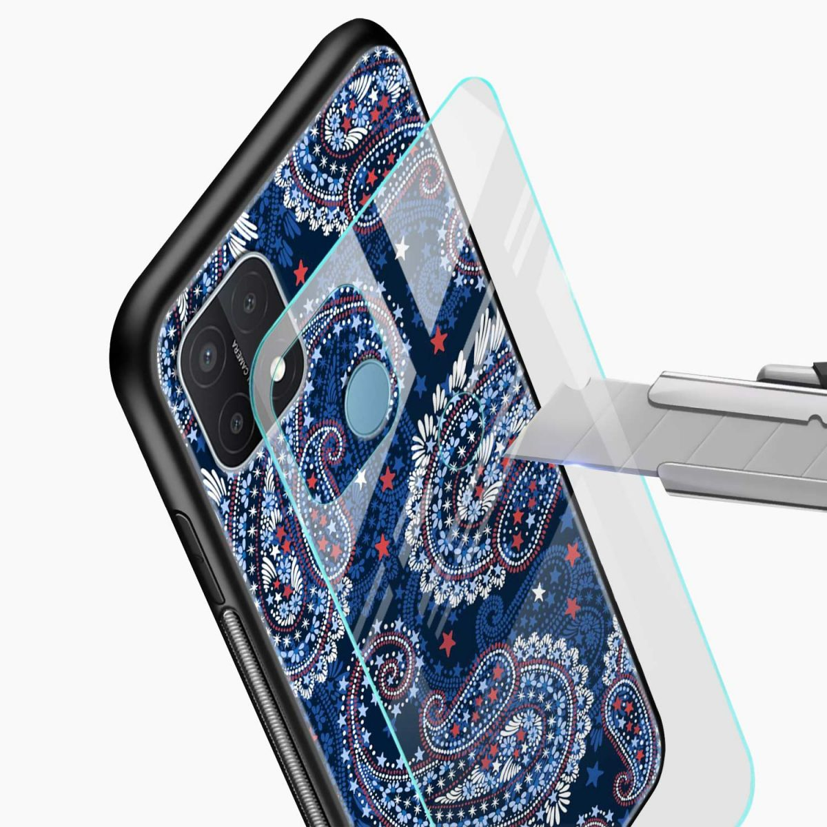 blue colored classical pattern glass view oppo a15 back cover