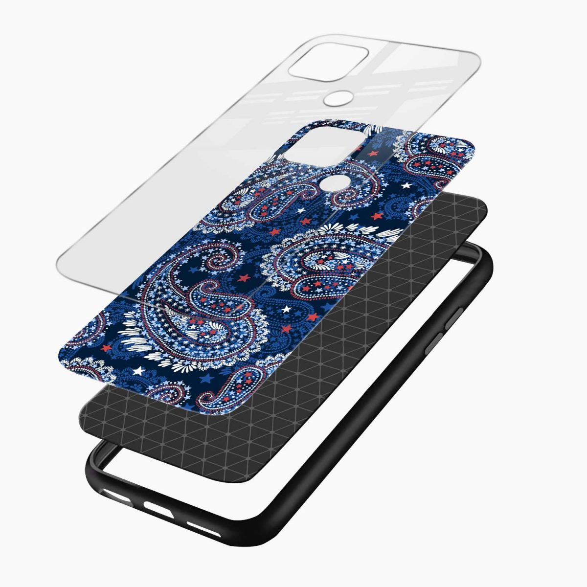 blue colored classical pattern layers view oppo a15 back cover