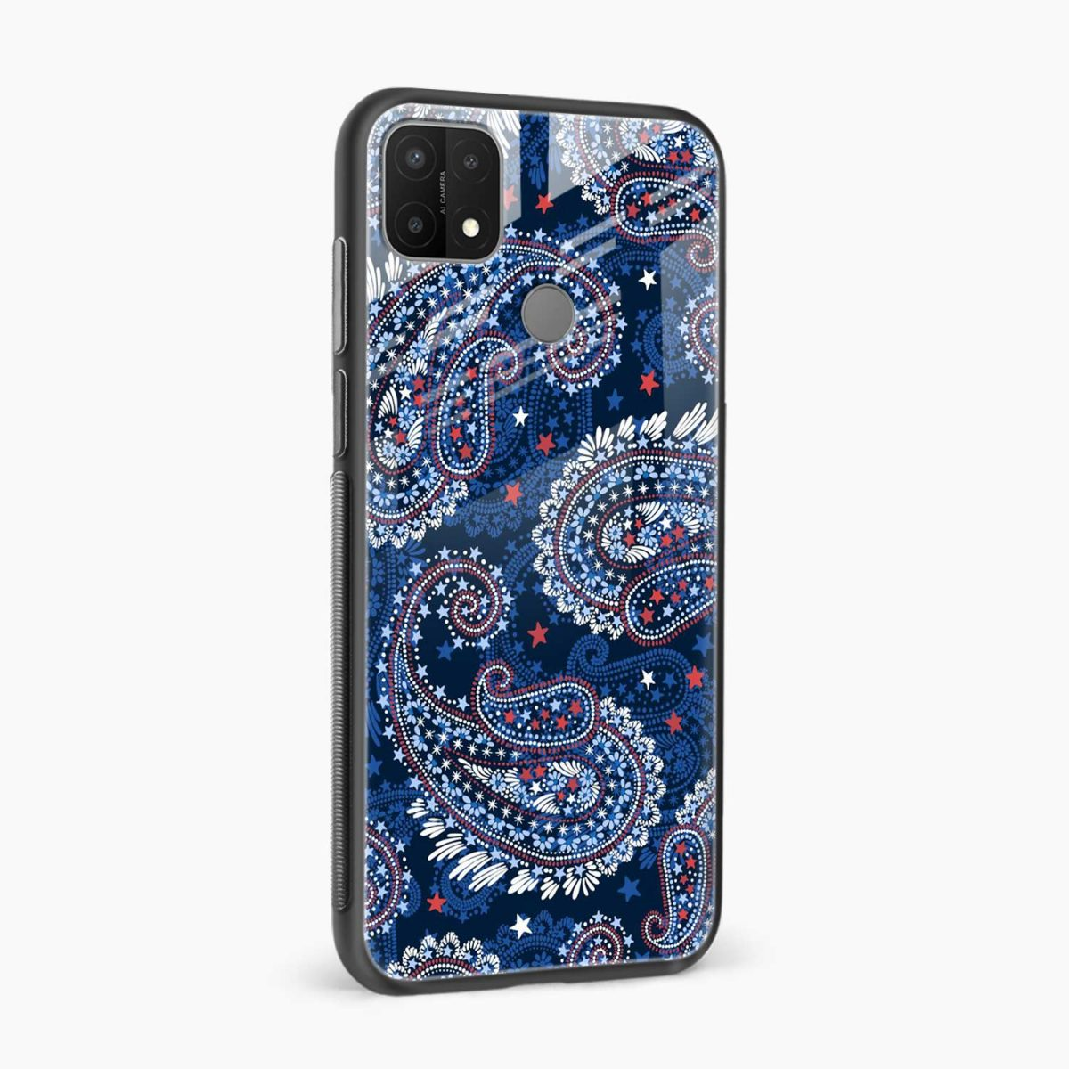 blue colored classical pattern side view oppo a15 back cover