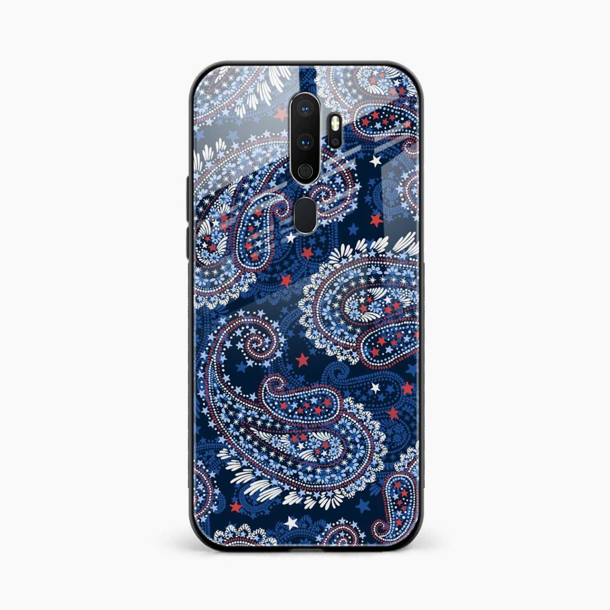 blue colored classical pattern front view oppo a5 back cover
