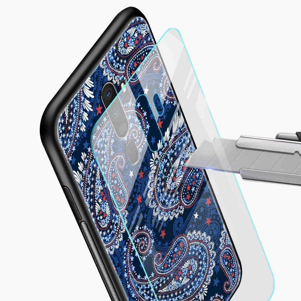 blue colored classical pattern glass view oppo a5 back cover