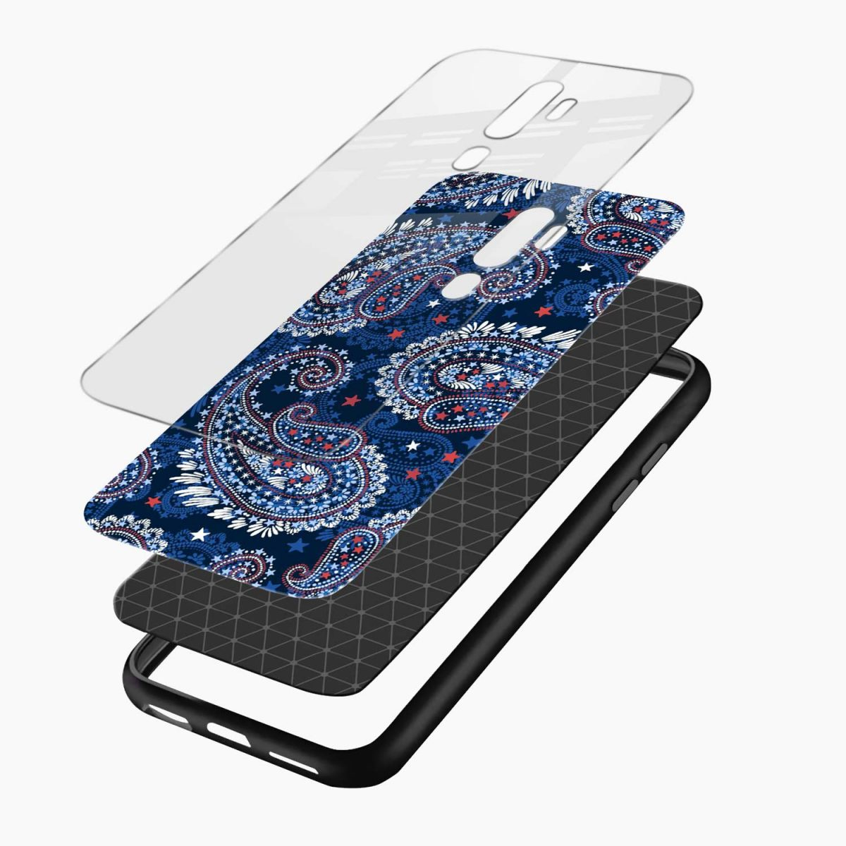 blue colored classical pattern layers view oppo a5 back cover
