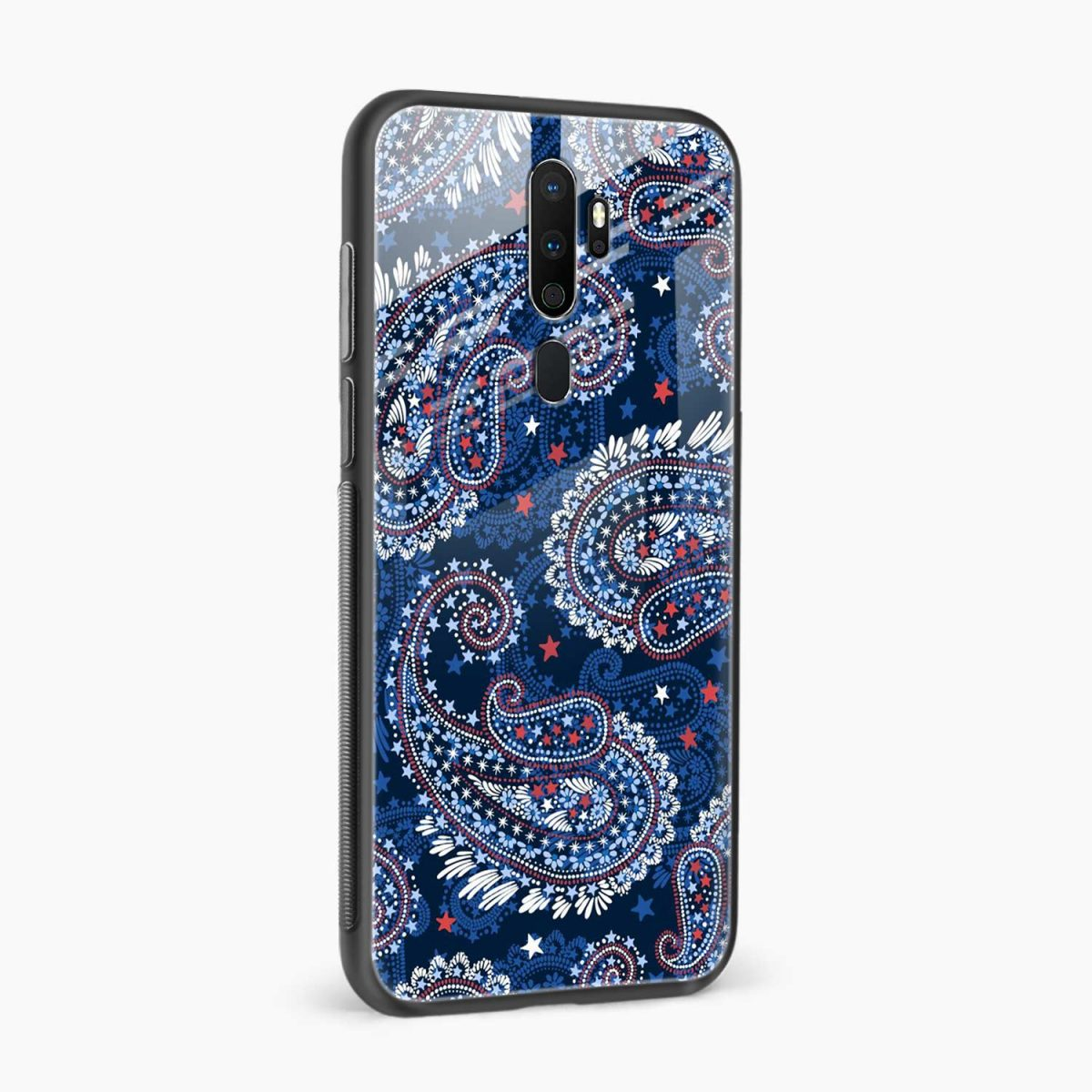 blue colored classical pattern side view oppo a5 back cover