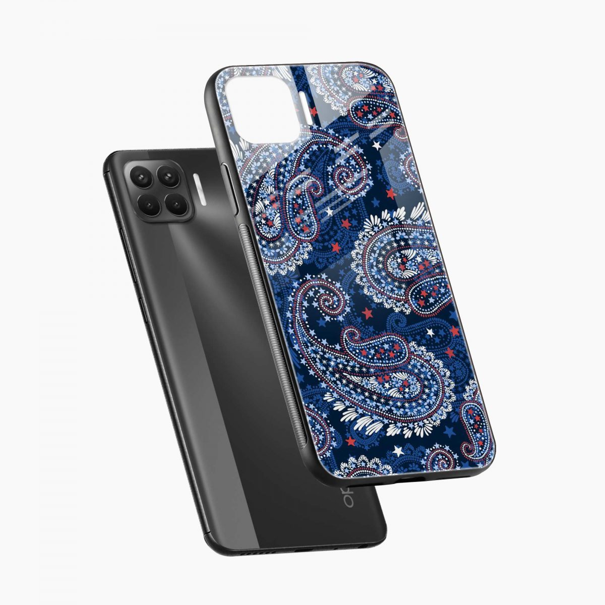 blue colored classical pattern diagonal view oppo f17 pro back cove