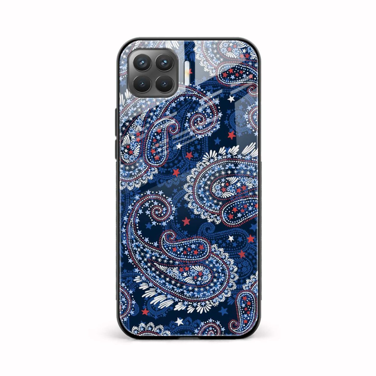 blue colored classical pattern front view oppo f17 pro back cover