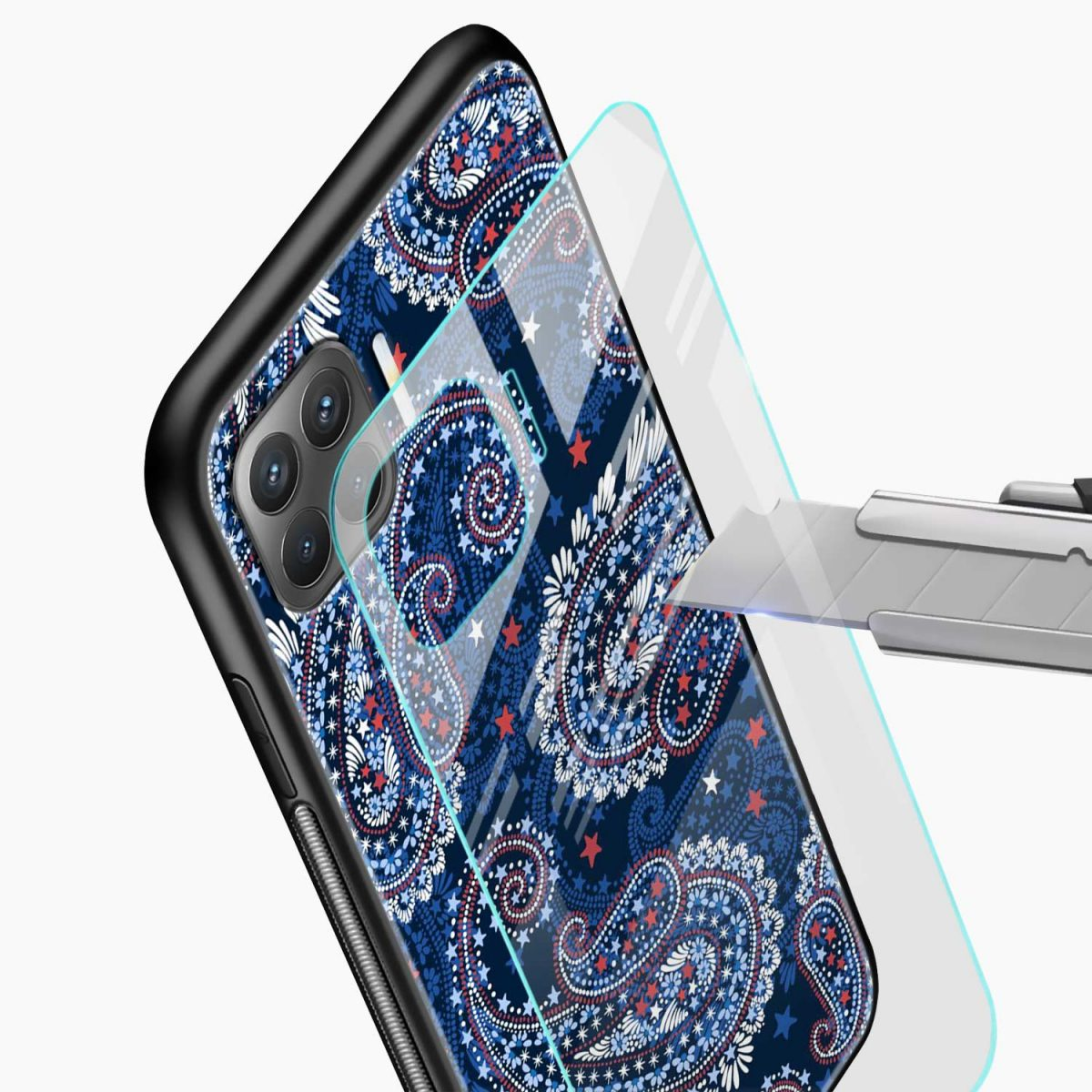 blue colored classical pattern view oppo f17 pro back cove