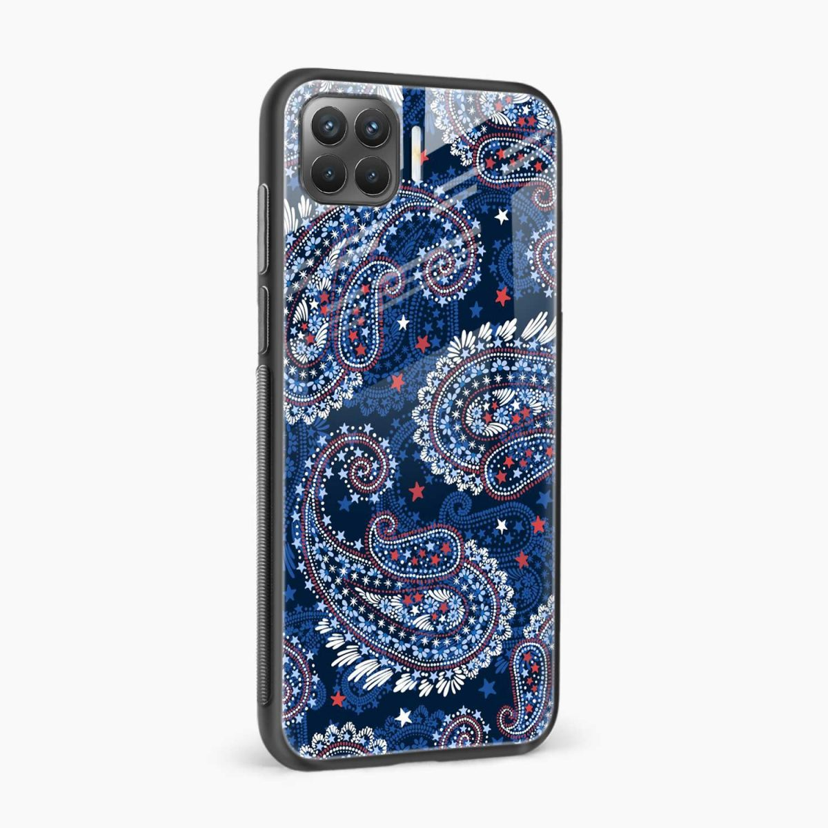 blue colored classical pattern side view oppo f17 pro back cove