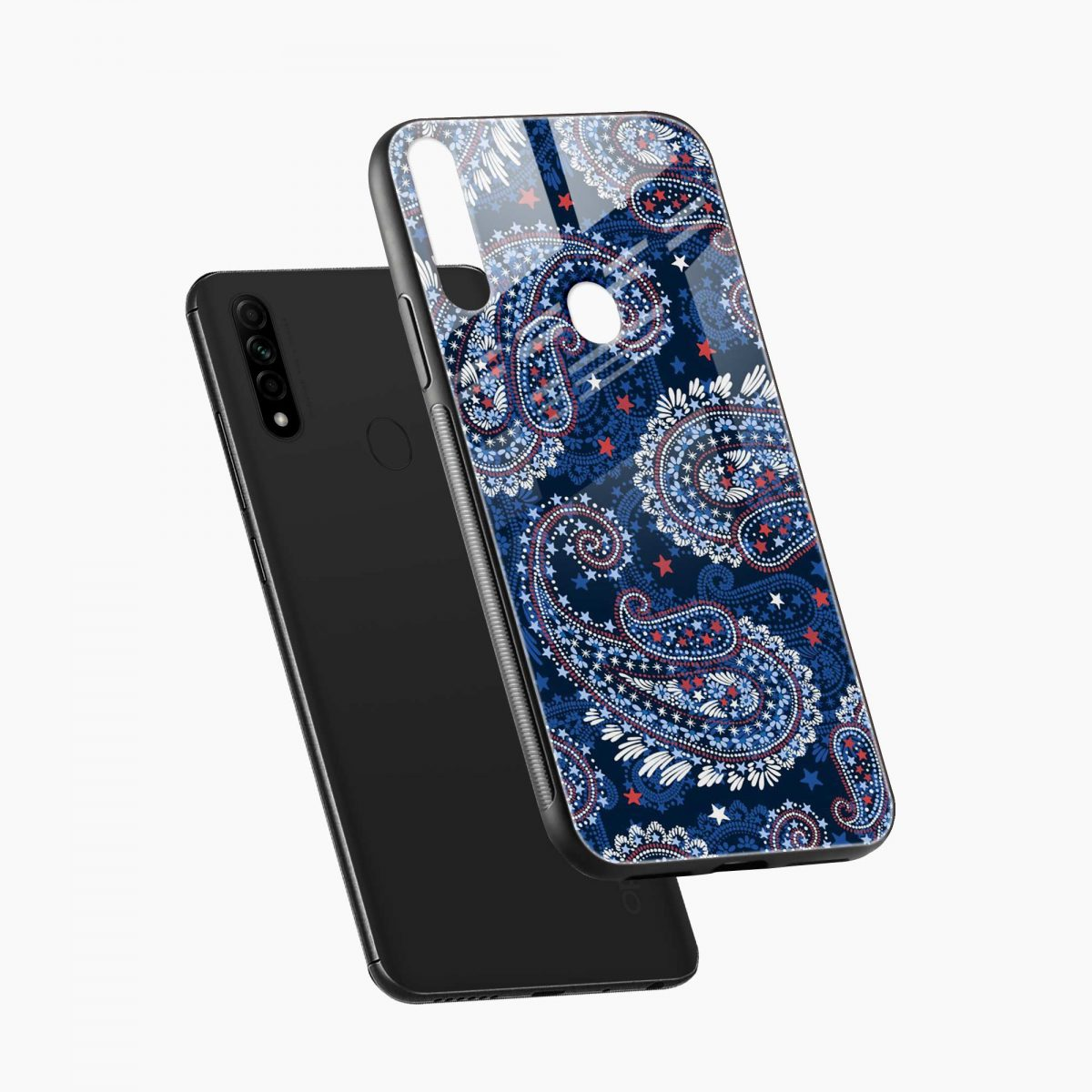 blue colored classical pattern diagonal view oppo a31 back cover 1