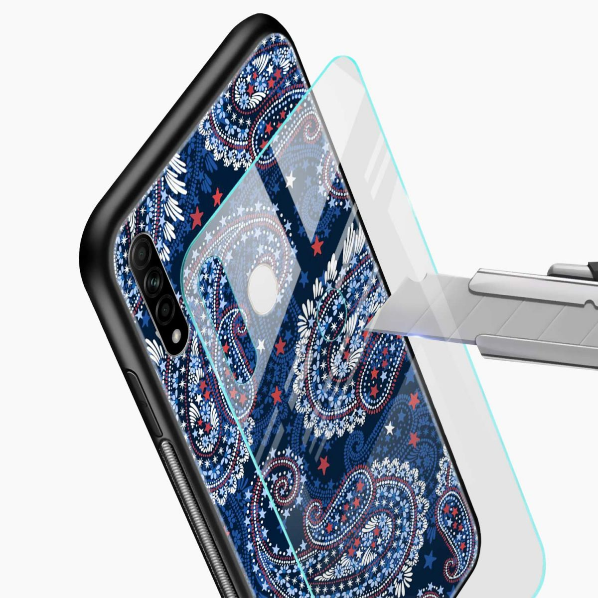 blue colored classical pattern glass view oppo a31 back cover 1