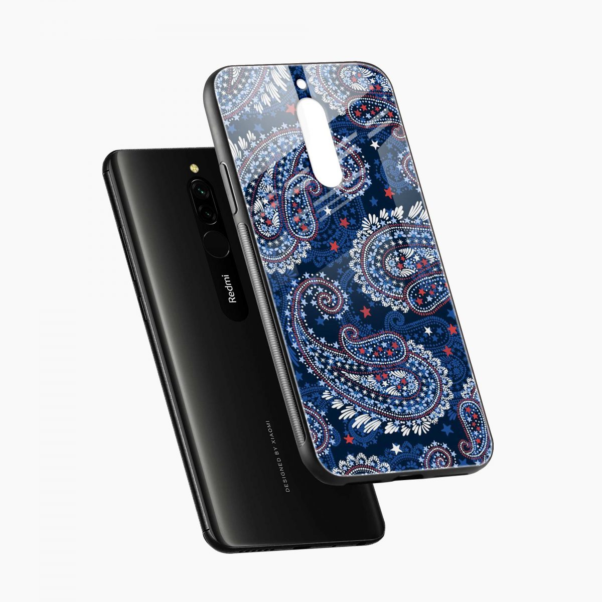 blue colored classical pattern diagonal view redmi 8 back cover