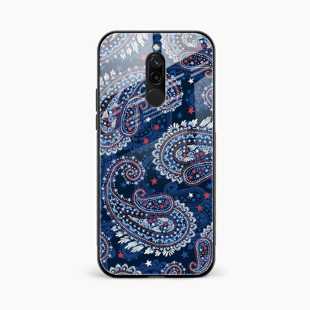 blue colored classical pattern front view redmi 8 back cover