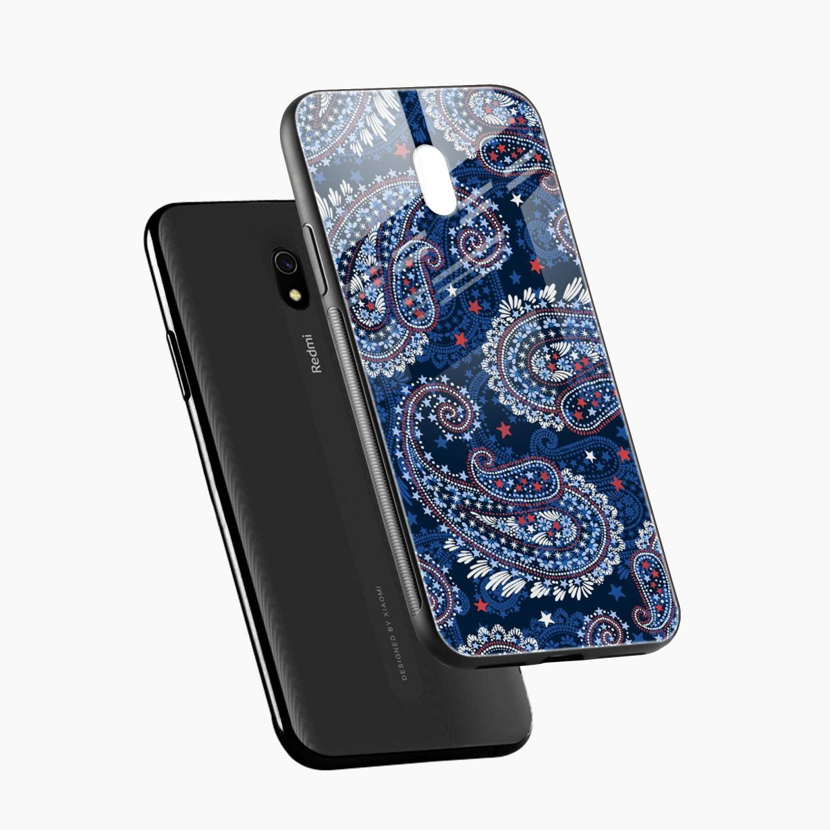 blue colored classical pattern diagonal view redmi 8a back cover