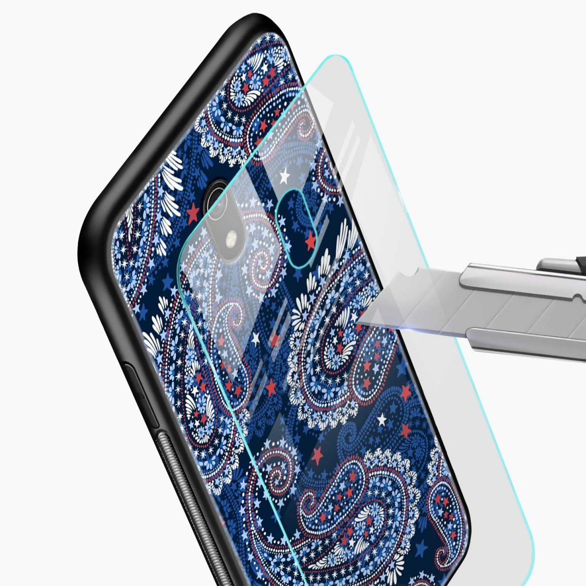 blue colored classical pattern glass view redmi 8a back cover