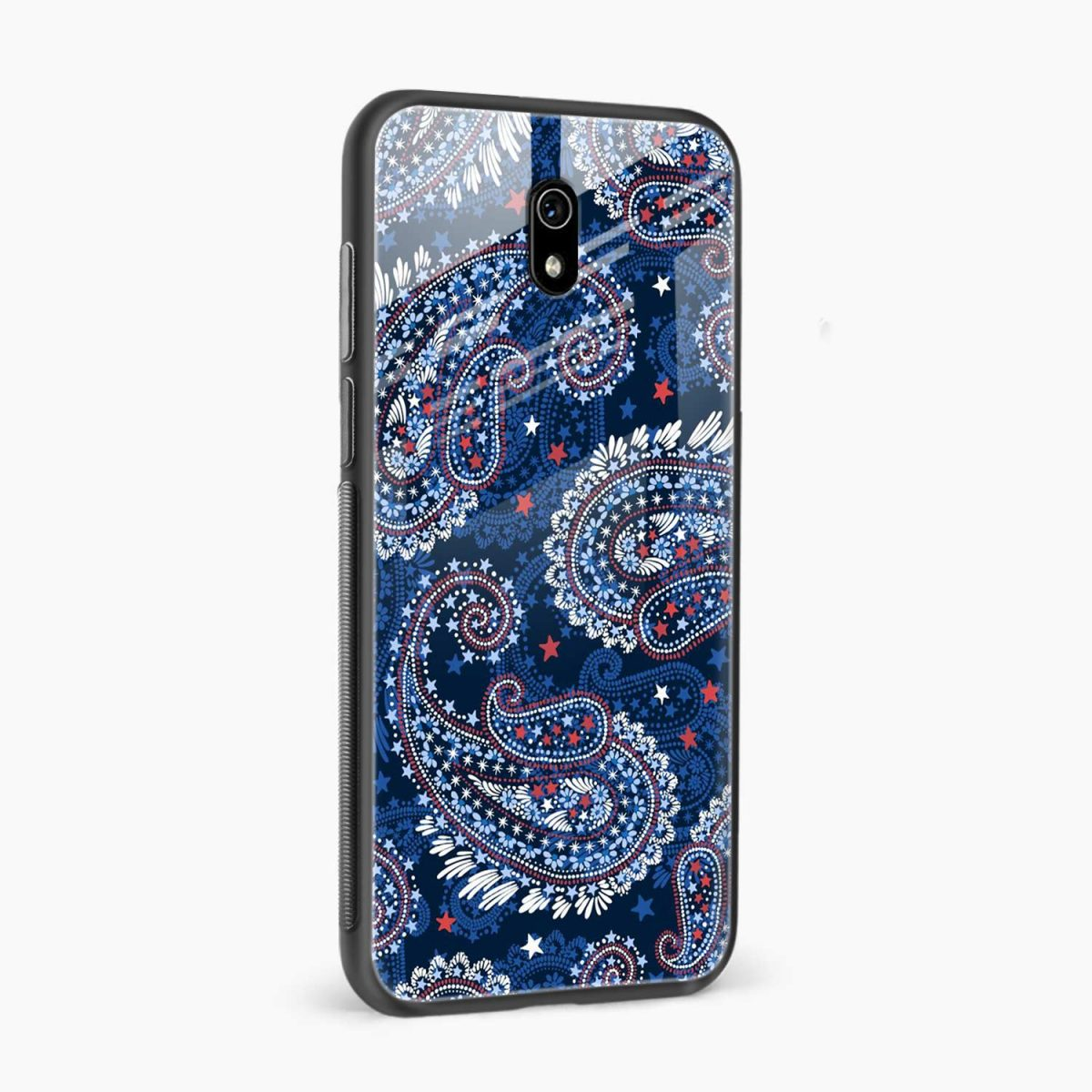 blue colored classical pattern side view redmi 8a back cover