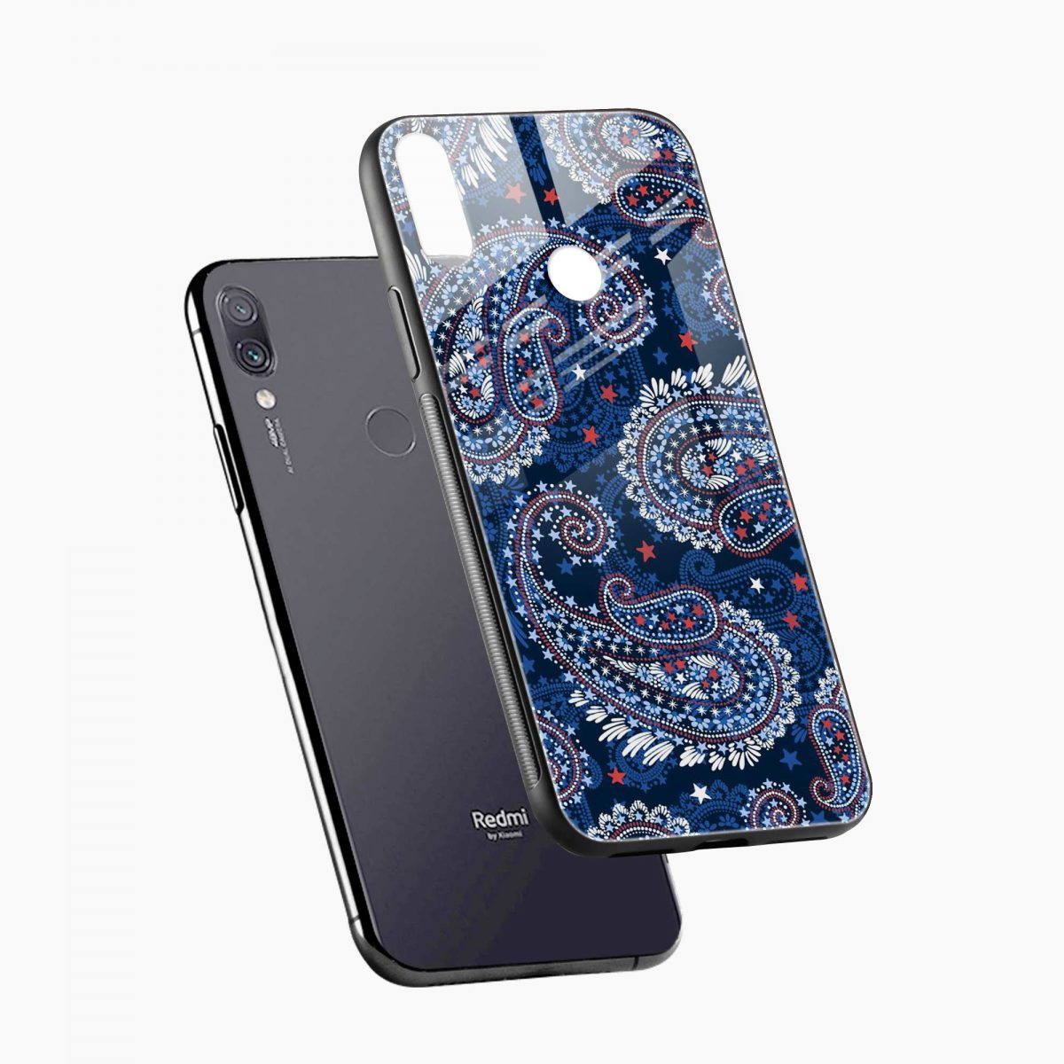 blue colored classical pattern diagonal view redmi note7 back cover